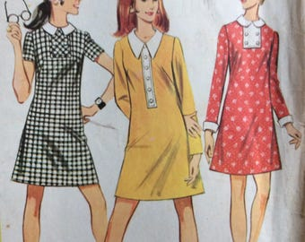 McCall's 9655 misses A-line dress size 10 bust 32 1/2 vintage 1960's sewing pattern