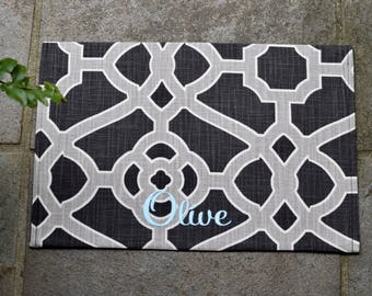 Pet Personalized Bowl Mat || Stylish Puppy Gift Black White Tan Fretwork || Custom Feeding Station by Three Spoiled Dogs