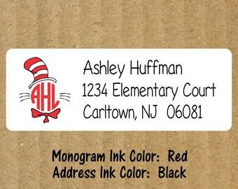 Cat in the Hat Address Labels, Set of 90, Cat in the Hat Monogram, Teacher Labels, Cat in the Hat, Teacher Return Address Labels