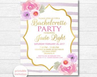 Purple Bachelorette Invitation, Watercolor Flowers, Bridal Shower Invitation, Purple Bridal Invite, Printable Invite, Digital Download