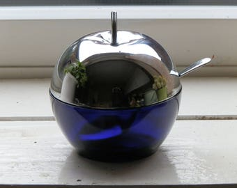 Vintage 1970's Cobalt Blue Glass and Chrome Plated Metal Apple Shape Jam / Marmalade / Pickle / Chutney Serving Pot / Dish with Spoon