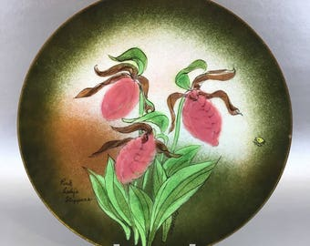 Ratcliff Pink Lady Slippers Floral Vintage Mid Century Copper Enamel Decorative Plate
