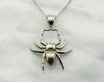 "Itsy Bitsy Spider Crawled Up The Water Spout!  Vintage Sterling Silver Spider Pendant. 18"" Sterling Silver Chain Included!  #ITSYBITSY-SPC2"