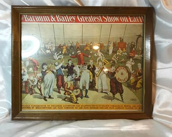 Barnum & Bailey Greatest Show On Earth, Copy right Strobridge, French, Vintage Reproduction of Circus Poster