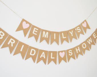 Personalised Bridal Shower Bunting, Party Decoration Banner, Custom Hen Party Bunting