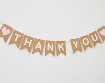 Thank You Sign, Wedding Decoration, Wedding Bunting, Banner, Party Decor, Rustic Heart Cards Table