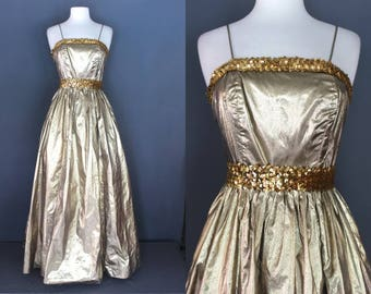 80's Prom Dress    80's Gold Lame Full Length Prom Dress 80's Formal Dress 80's Occasion Dress