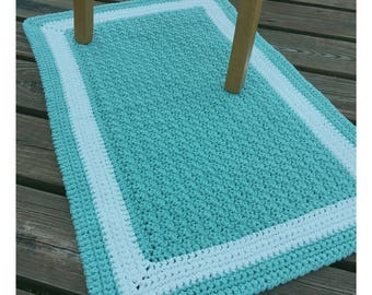 Dusty teal aqua and white cotton floor bath mat rug handmade-Cotton crochet seafoam nursery mat rug-soft bath nursery rug-light aqua rug mat