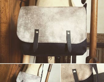 Man or woman black and grey imitation leather and suede Messenger bag