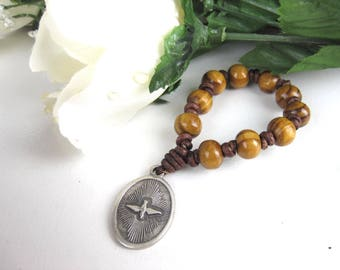 Chaplet, Leather chaplet, Wood bead chaplet, Pocket Rosary, Mens Chaplet, Decade chaplet