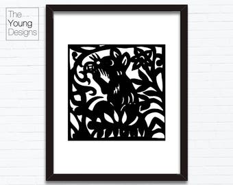 Chinese Zodiac Rat, Astrology Animal Sign, Birthday Year printable posters, INSTANT DOWNLOAD, paper cutting style, Birthday gift ideas