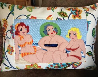Bathing Beauties Needlepoint Pillow