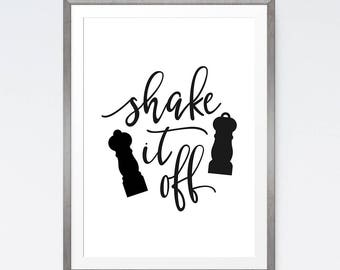 Shake it off print, Printable kitchen art, Funny kitchen printable, Instant download, I love printable, Kitchen signs, Funny wall art