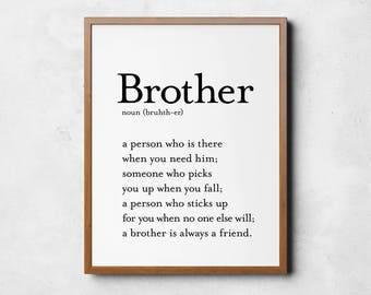 Brother sign, Brother definition sign, Definition wall art, Definition printable, Digital download, Gift for brother, Brother wall art