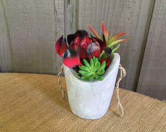 Faux Succulent arrangement/concrete succulent arrangement/ red succulent/ man cave decor/ concrete arrangement/hanging succulent arrangement