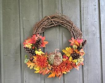 Rustic pumpkin wreath/ fall wreath/ autumn wreath/ thanksgiving wreath/ pumpkin wreath/ pumpkin decor/ fall decor/ autumn decor/ front door