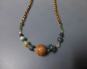 Space universe Solar system geek chic nine planets galaxy  nerd necklaces