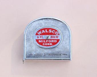 Vintage Walsco 6 ft push pull measuring tape