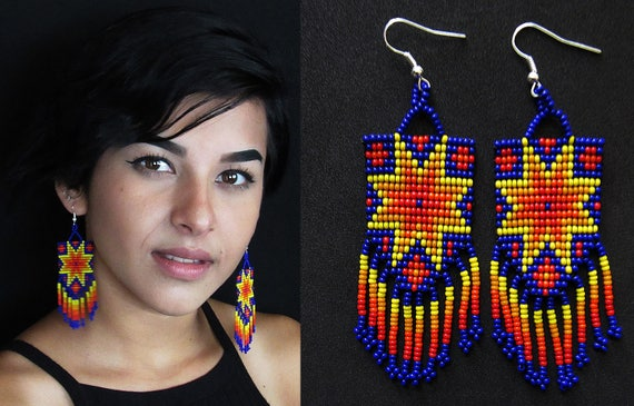 Native American Style Starburst Earrings, Tribal Boho Sun Earrings, Beaded Earrings, Huichol Earrings, Mexican Beaded Earrings, Authentic