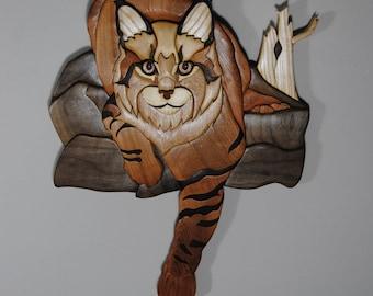 Intarsia Wood Art Wallhanging Bobcat