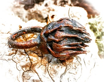 Copper Electroformed Real Thistle Bud Ring