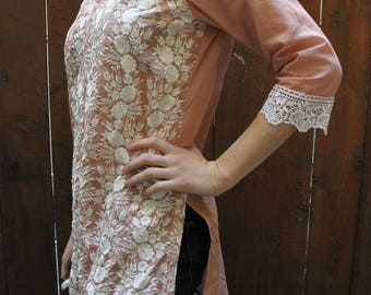 Embroidered pink tunic dress