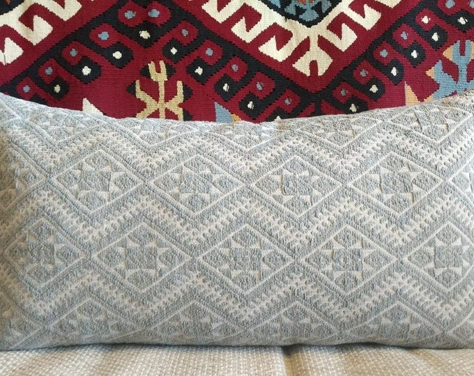 Beautiful Light Gray Vintage Chinese Wedding Blanket Pillow Cover / Boho Ethnic Miao Dowry Textile / Handwoven Cotton and Silk Cushion