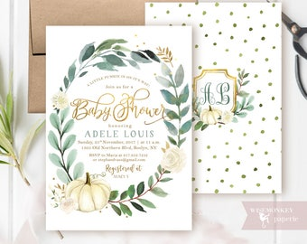 Pumpkin baby shower invitation fall autumn invite - Gender Neutral white gold  gold foil customizable digital printable DIY card