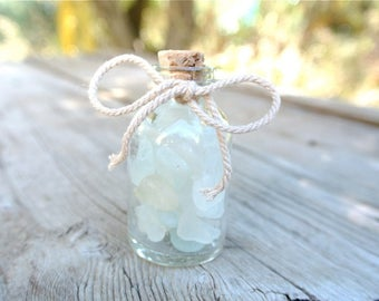 Glass Bottle, Miniature Bottle, Sea Glass Bottle, Nautical Decor, Housewarming Gift,