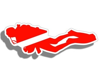 Scuba Diver Down Vinyl Sticker Decal with Dive Flag for Tank, Boat, Car, Truck, Back Glass Graphic and more