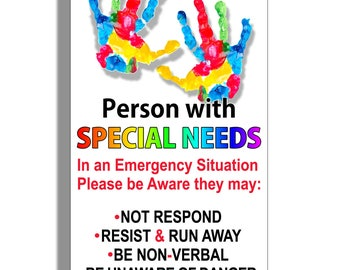 Special Needs Person Sticker Car Truck Window Vehicle Emergency Safety Alert First Aid Safe