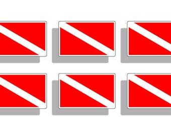 Mini Scuba Diving Sticker Diver Down Flag Vinyl Die Cut Printed Decal Car Cup Truck Laptop Graphic