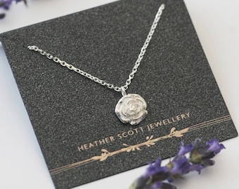 Rose Necklace, flower necklace, silver rose