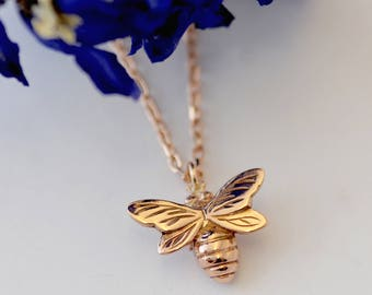 Rose Gold Bee Necklace, rose gold necklace, bee jewellery, handmade uk