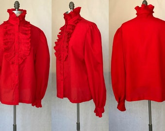 Vintage 70s Lady Manhattan Bright Lipstick Red Ruffled High Collar / Women's Size Large