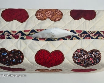 Tissue Box Cover, cotton,quilted and applique
