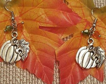 Pumpkin Earrings, Thanksgiving Earrings, Autumn Earrings, Free Shipping