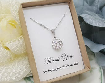 Romantic design bridesmaid Crystal Necklace with message gift box, Bridesmaid Gift