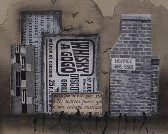 """Techniques mixtes / Oeuvre originale en techniques mixtes """"Urban"""" : Aquarelle / Collage / Fusain / Encre de Chine"""