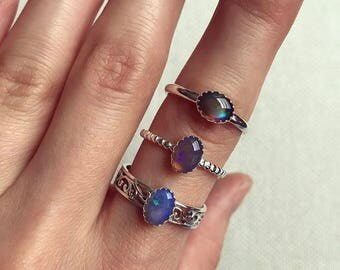 """Sterling silver """"Adelia"""" rings with Australian crystal opals"""