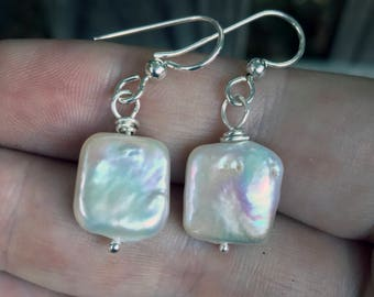 Freshwater Pearl Earrings - Pearl Square Earrings - Pearl Dangles - Freshwater White Pearls - Square Earrings - Sterling Silver - Coin Pearl