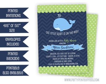 Whale Baby Shower Invitation - Boy Baby Shower Invitations - Nautical Baby Shower - Little Squirt Invite - Blue Green Whales Shower Invites
