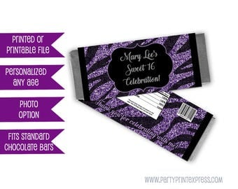 Purple Zebra Candy Wrappers - Zebra Birthday Party Favors - Zebra Party Favor - Purple Glitter Zebra - Purple and Black - Girl Party Candy