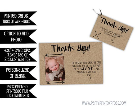 Wild One Thank You Cards Wild One Party Tags Wild One Birthday