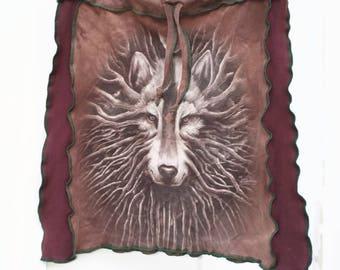 Tree Wolf Upcycled T-shirt Skirt, M-XXL, drawstring, Vintage