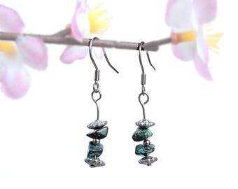 Chrysocolla earrings, genuine chrysocolla jewelry stone jewelry healing crystal and stone earring natural stone earring handmade jewelry fyc