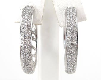 Diamond Hoop Huggie Earrings 14k White Gold Micro Pave Design 1.50 carats