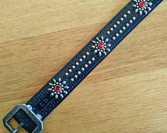 Custom Black leather rockabilly studded western belt