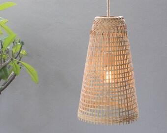 Bamboo Pendant Light   Handmade Wooden Pendant Lamp Hanging Repurposed  Fishing Trap Basket, Hanging Natural