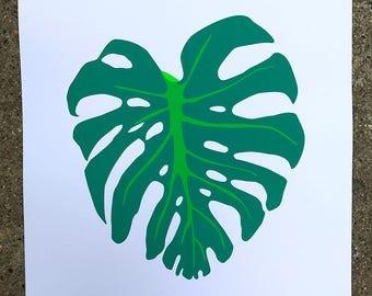 Fluorescent turquoise 'Monstera Deliciosa' pop art tropical palm leaf screen print.
